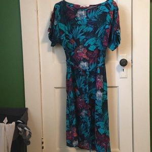 LOFT belted tea length dress
